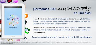 Captura de la presentación del Sorteo de 100 Samsung Galaxy Tab 2