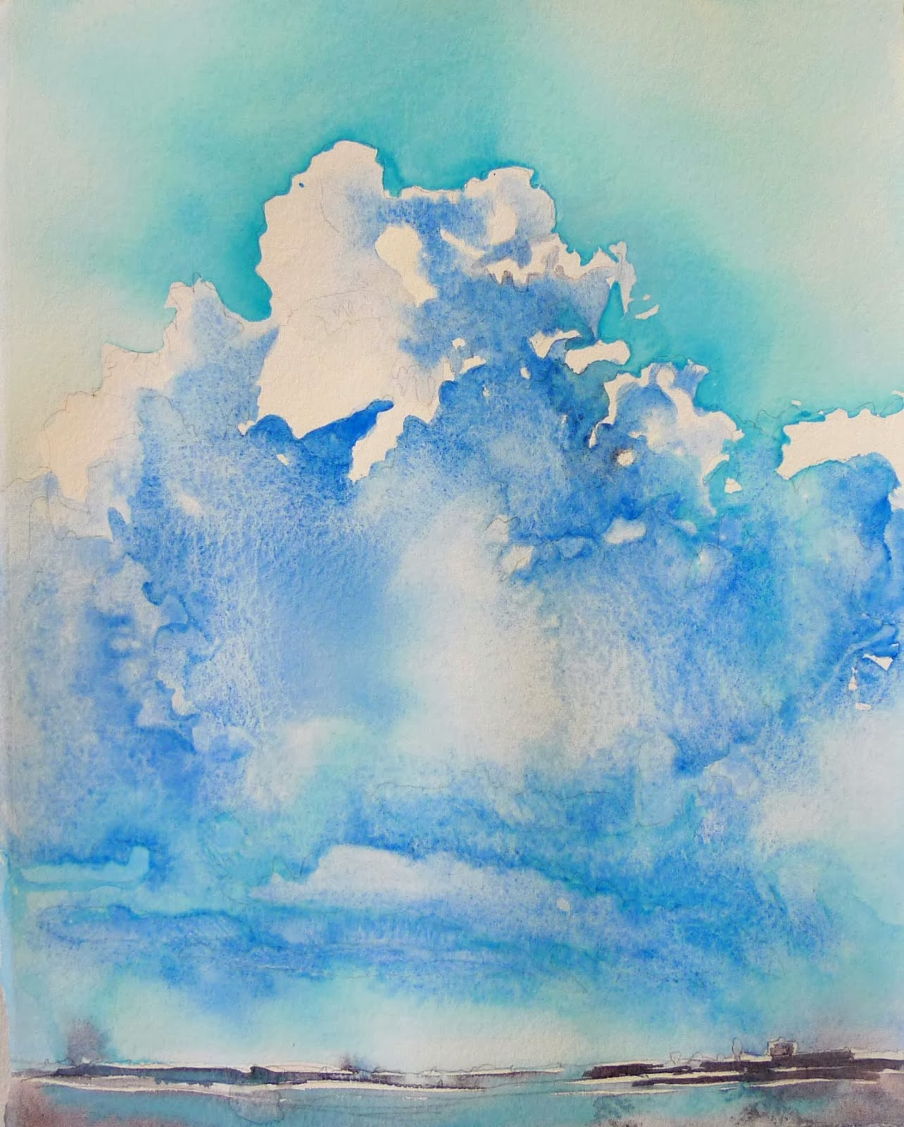 how to make sky blue colors with watercolor