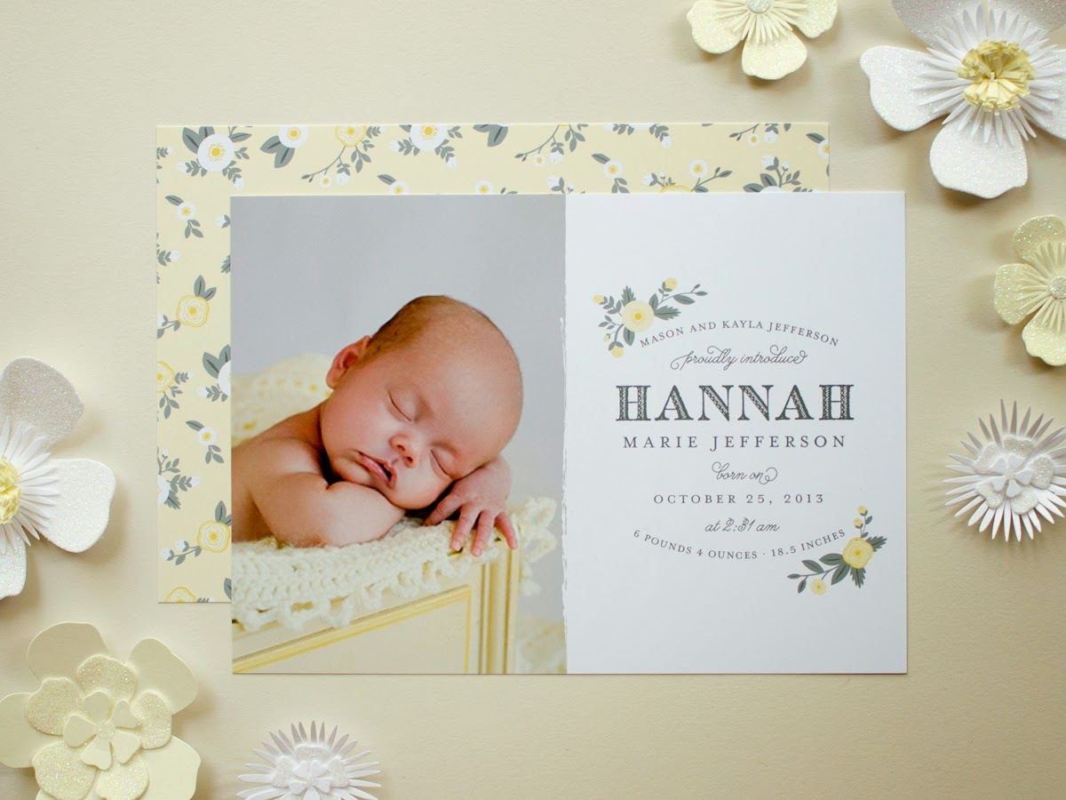 photo birth announcement yellow flowers