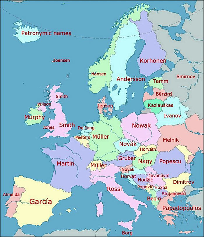 The Most Common Surnames in Europe by Country