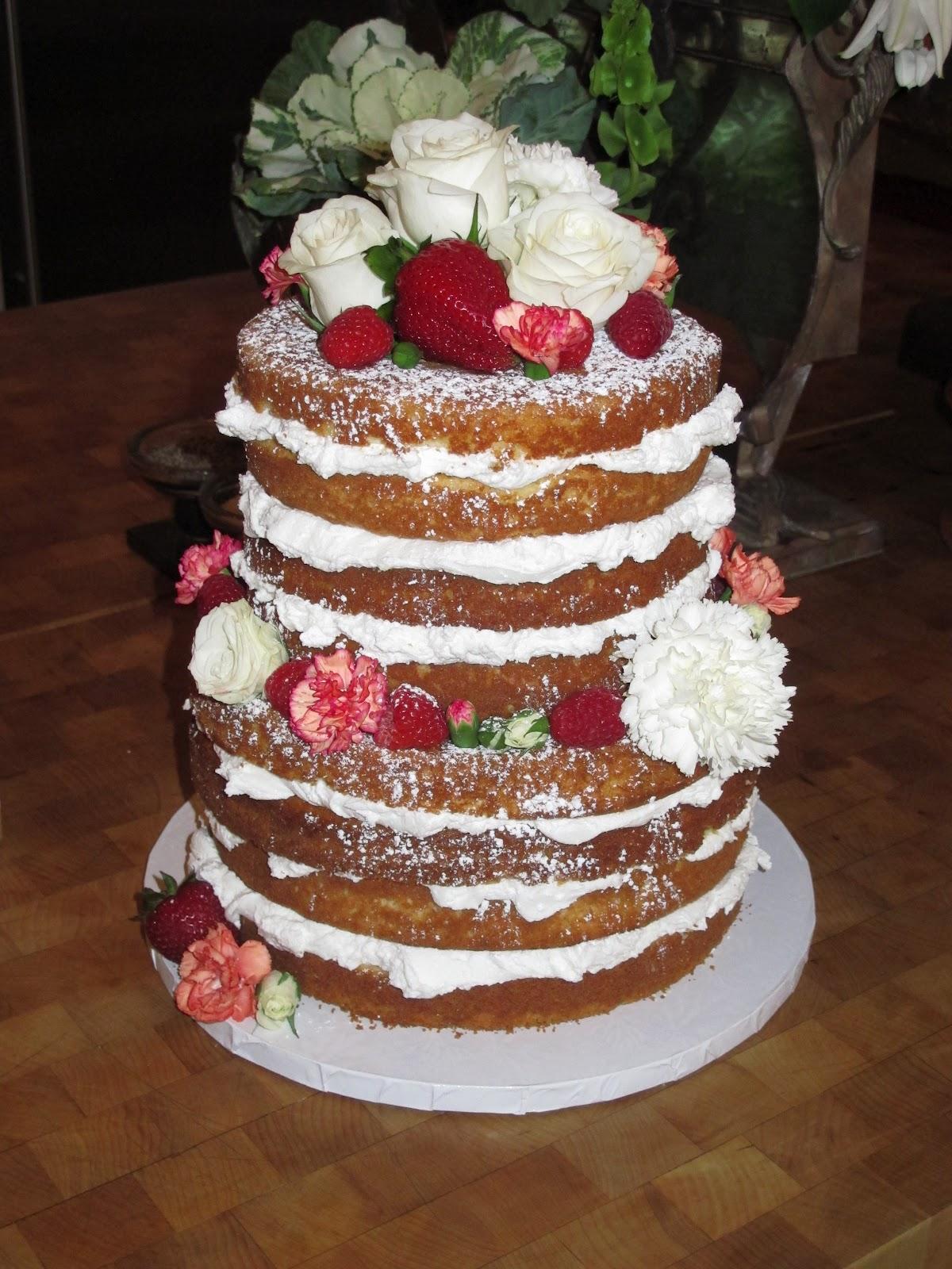 Chocolate Drip Naked Wedding Cake - coucoucake - cake and