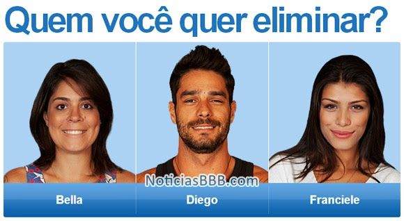 Paredão Big Brother Brasil: Bella, Diego e Franciele