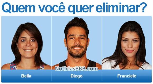 Paredão Big Brother Brasil: Bella, Diego e Franciele