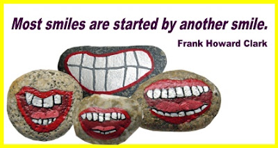 painted rocks, faces, mouths, smile, Stony Face