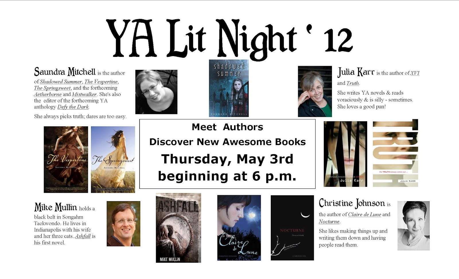 These authors, all Indiana residents, are also all writers of Young Adult ...