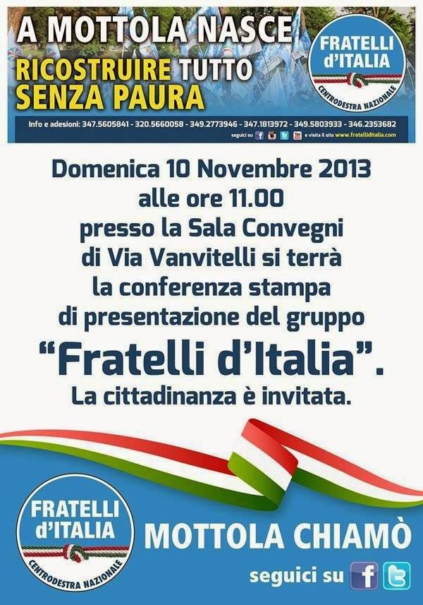 Vivimottola mottola domani conferenza stampa di fratelli d 39 italia - La finestra sul cielo mottola ...