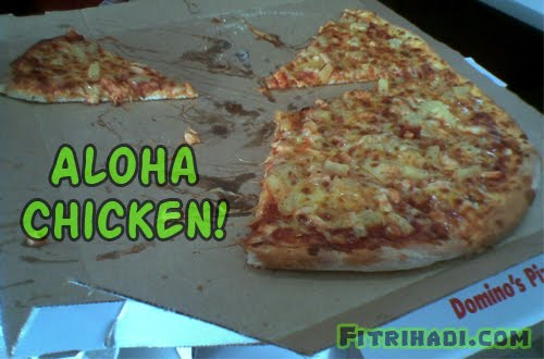 aloha chicken pizza domino piza