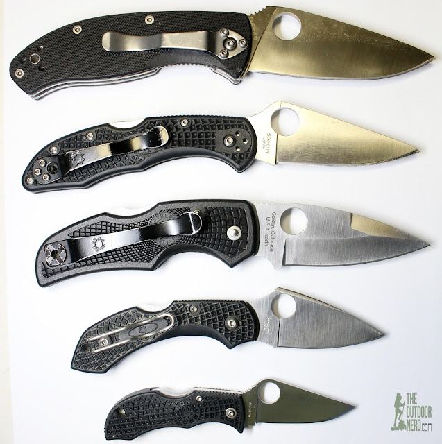 All Spyderco, from top: Tenacious, Delica 4, Native 5, Dragonfly 2, Manbug