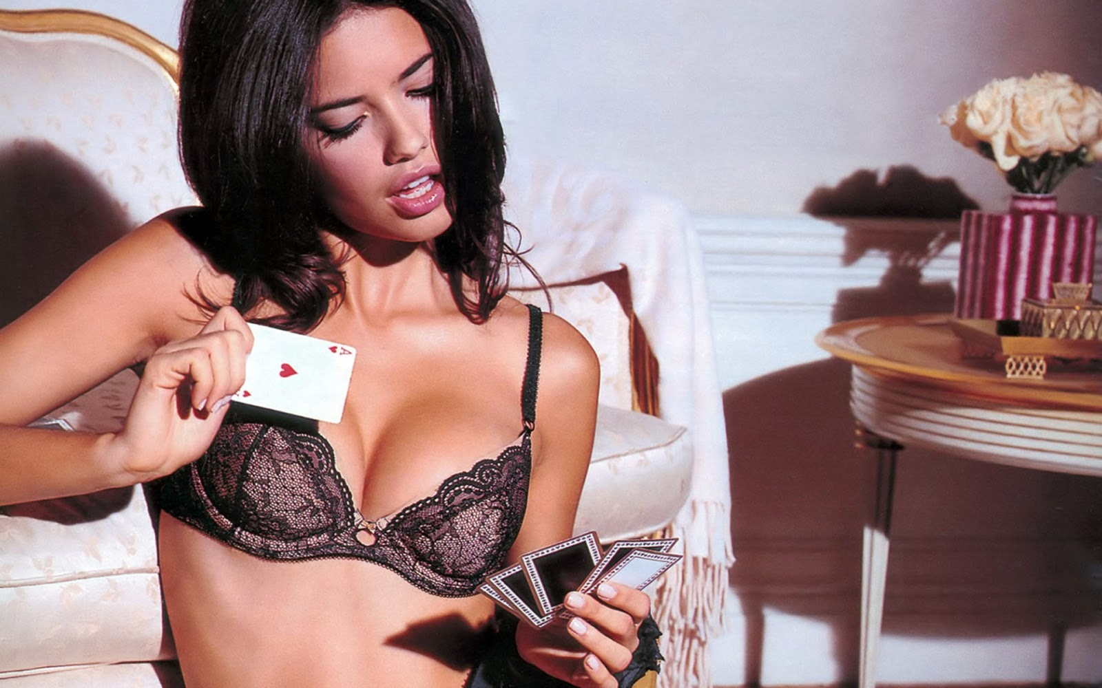 Adriana Lima in Lingerie Play Cards