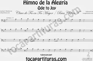 Partitura del Himno de la Alegría fácil en Fa Mayor e instrumentos de Clave de Fa (bass clef) F