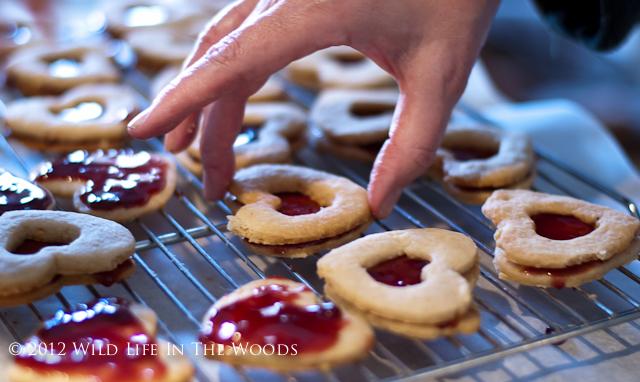 Assembling Linzer Heart Cookies.