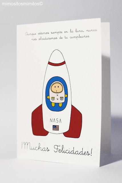 postal para regalar astronauta