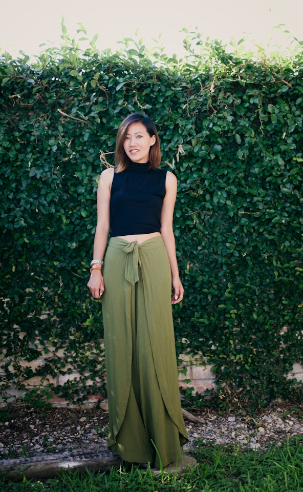 forever 21 green sarong wide leg wrap pants