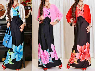 Maxi Dress Korea + Cardi Kode M-3151B