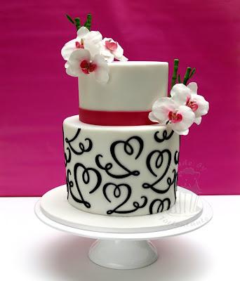 Hochzeitstorte Fondant Orchideen pink