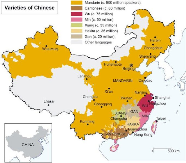 Mapa de lenguas y dialectos en China