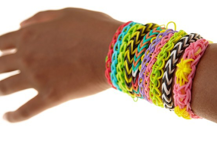 rubber bands into bracelets
