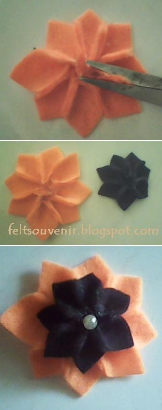 Cara Membuat Bross Bunga Flanel 2