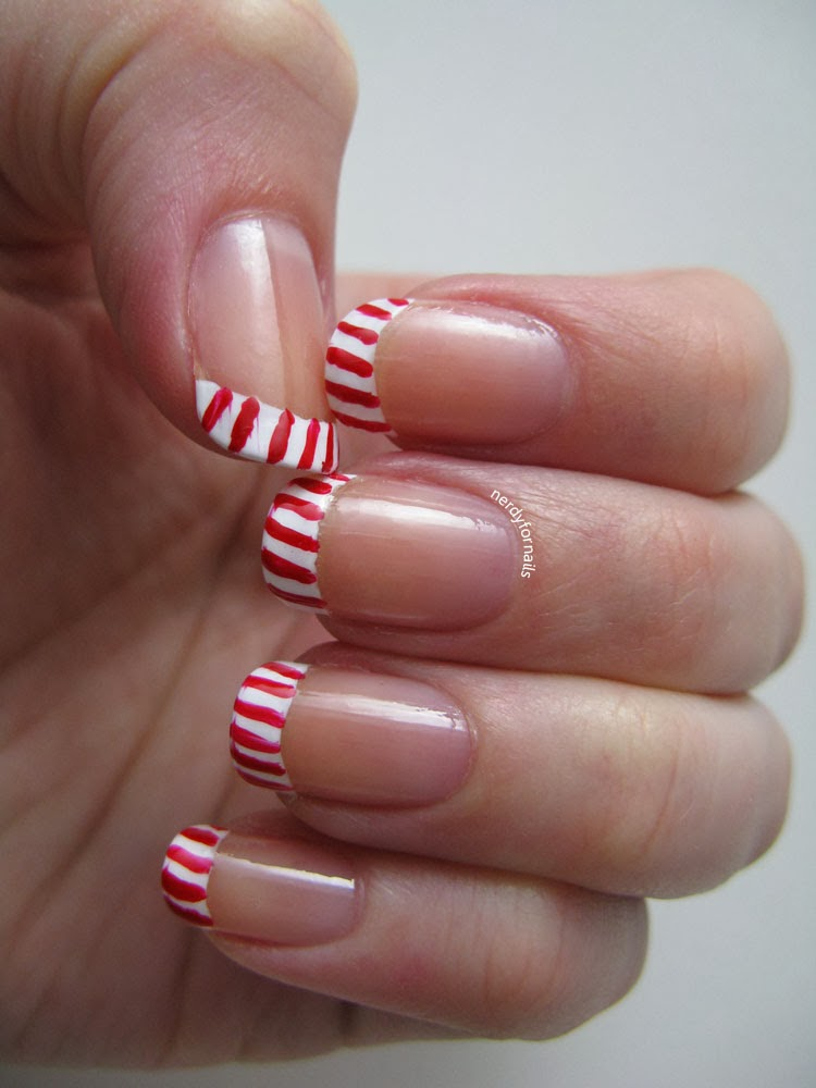 Nerdy for Nails: Candy Cane French Tips