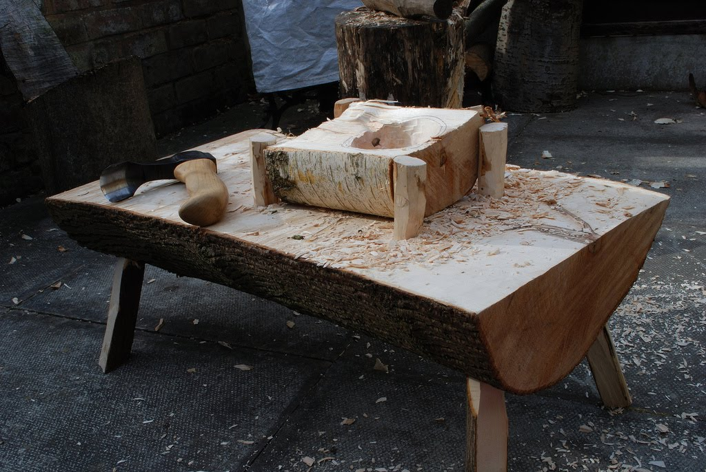 Simon Hill Green Wood Carving Adze Work On The Low Bench