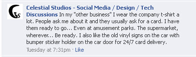 Facebook comment on business cards