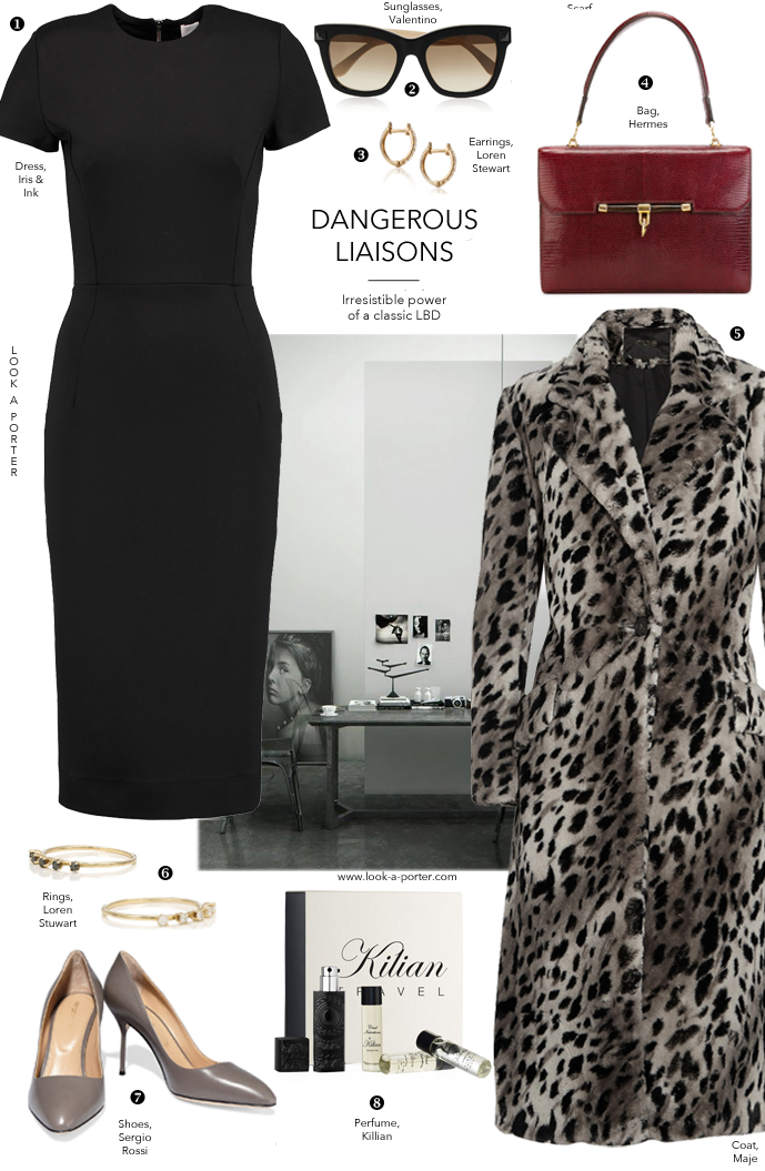 Styling black dress with animal print coat, vintage bag and classic pumps via www.look-a-porter.com style & fashion blog