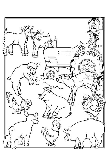 صورة حيوانات الحقل والفلاح يحرث في صورة واحدة لتلوين الاطفال