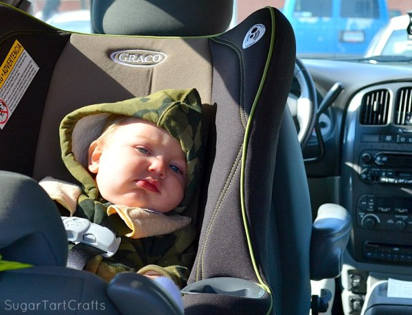 Cranky baby in a carseat