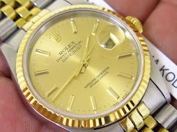 ROLEX OYSTER PERPETUAL DATE JUST GOLD DIAL - ROLEX 16233