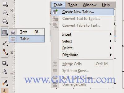 Menu Tabel dan Toolbox Table Tool untuk Membuat Tabel di CorelDraw