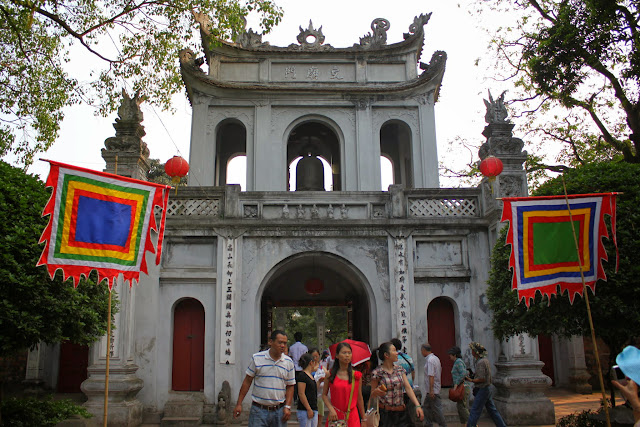 The rear view of the main gate of Temple of Literature in Hanoi, Vietnam