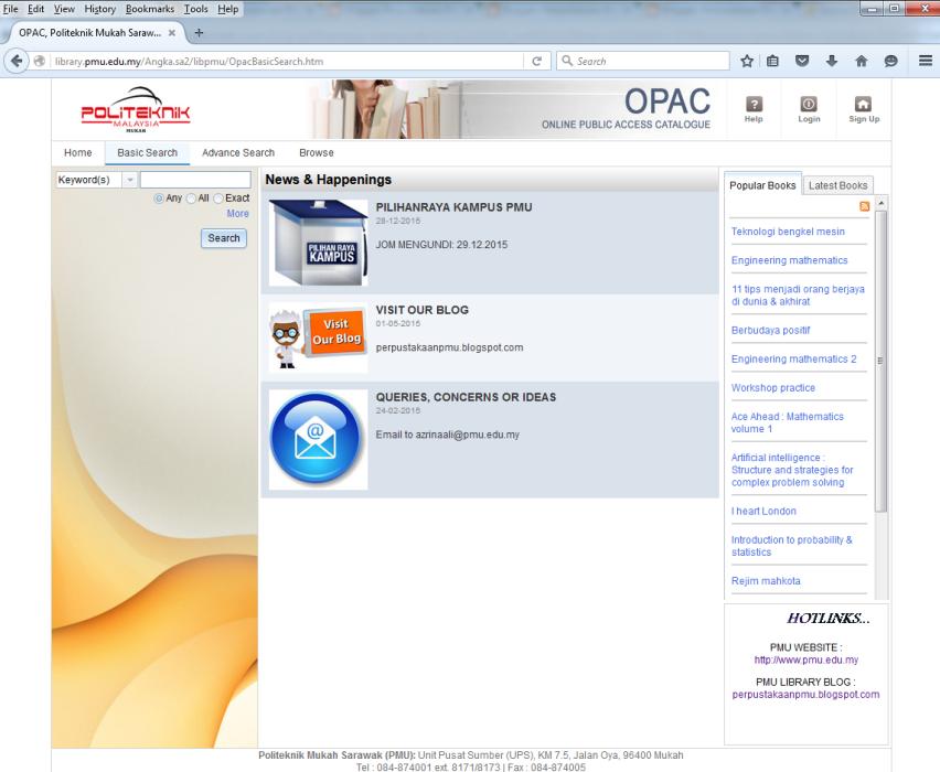 Perpustakaan politeknik mukah pmu web opac pmu web opac page display stopboris Gallery
