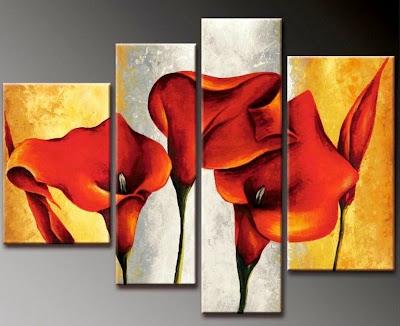 Cuadros modernos pinturas y dibujos cuadros de flores for Cuadros tripticos grandes