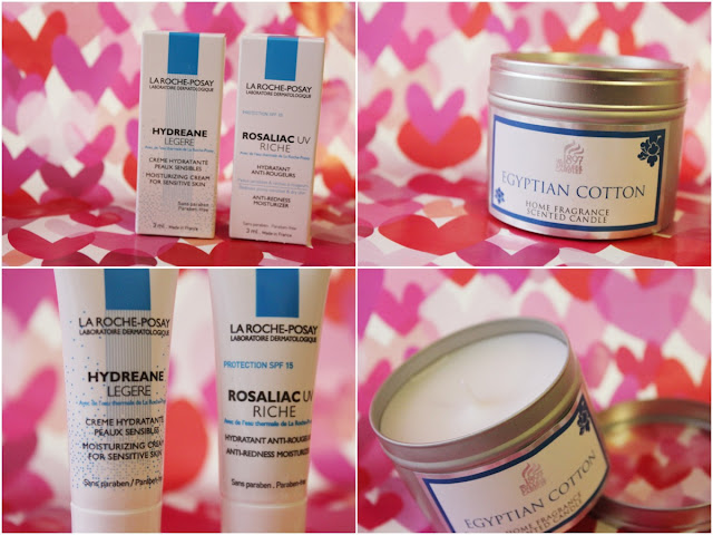 Image of La Roche-Posay moisturiser and Egyptian cotton candle