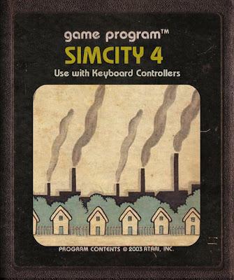 Sim City 4 Fita Cartucho para Atari 2600 Classic Cidade Old Art