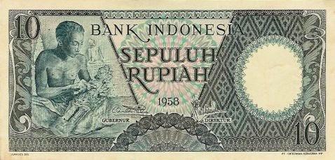 uang kuno 10 rupiah 1958 seri Pekerja tangan I