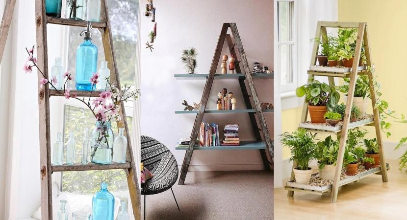 Decorar en crisis escalera convertida en estanteria for Escalera de jardin de madera