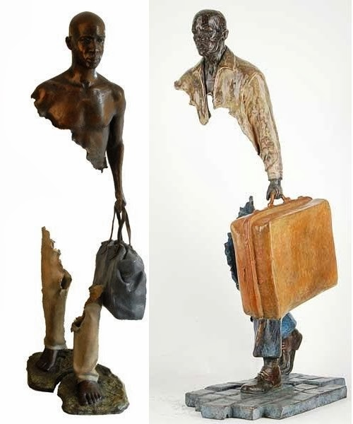 10-French-Artist-Bruno-Catalano-Bronze-Sculptures-Les Voyageurs-The-Travellers-www-designstack-co