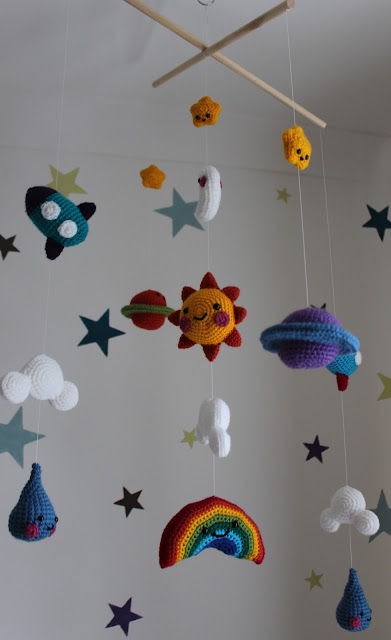 Happy Day baby mobile with planets and rockets