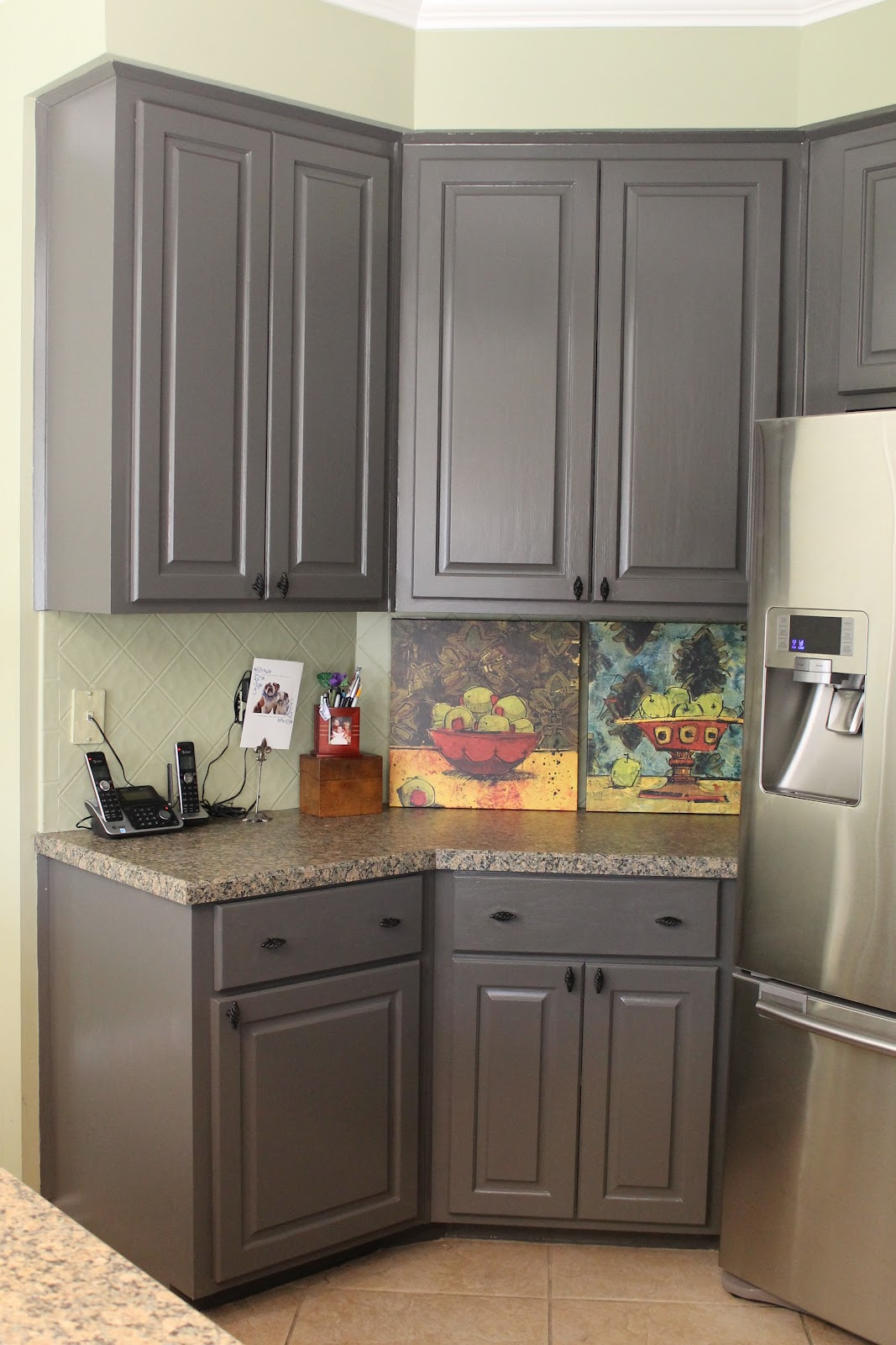 Kitchen mini makeover miss kopy kat Pictures of painted cabinets