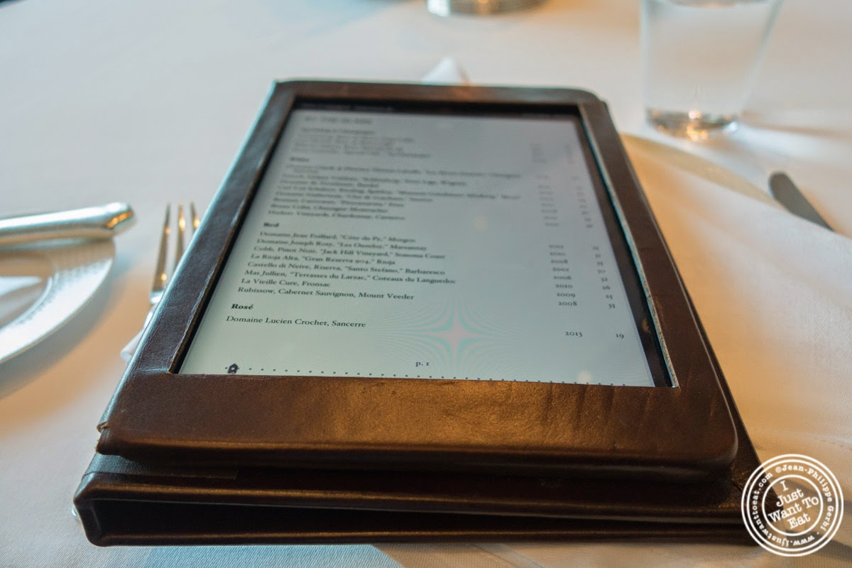image of wine list on iPad at Per Se in New York, NY