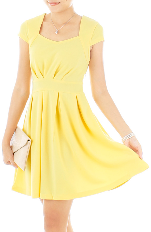 Ballerina Pleated Flare Party Dress – Light Yellow