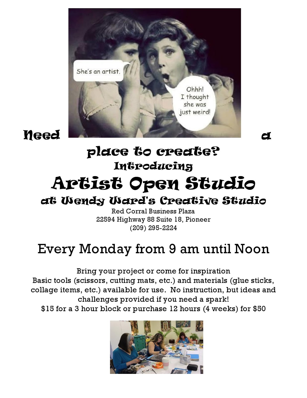 Artist Open Studio at Wendy Ward's Creative Studio - Mondays from 9AM-12 Noon
