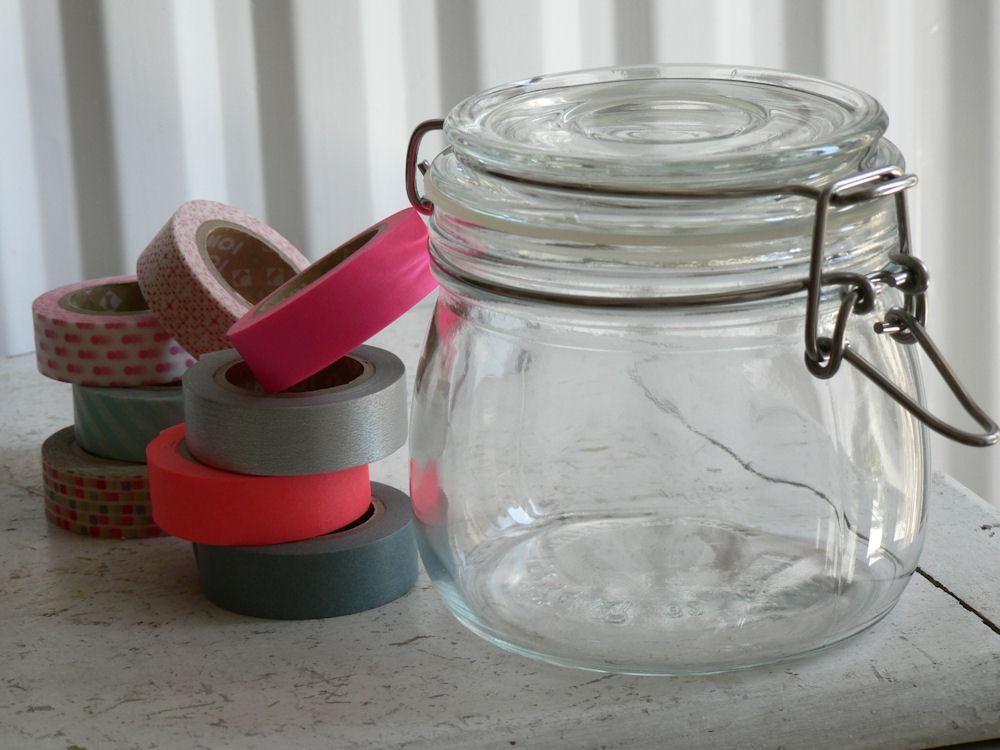 bijou caillou chou genou diy customiser un bocal avec du masking tape. Black Bedroom Furniture Sets. Home Design Ideas