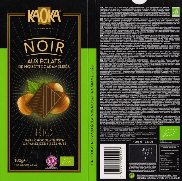 tablette de chocolat noir gourmand kaoka bio noir aux eclats de noisette caramélisés