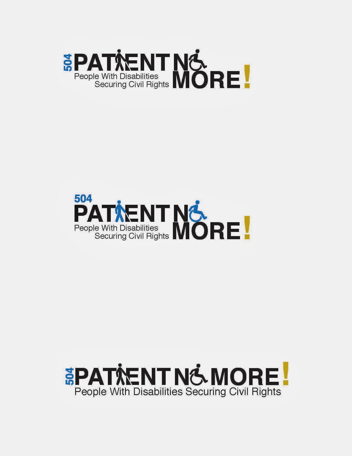 """Patient No More!"" logo idea incorporating disability symbols as letterforms, color included"