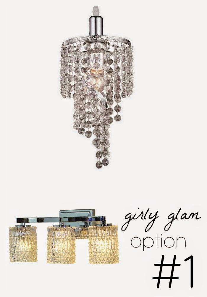 girly glam powder bathroom lighting