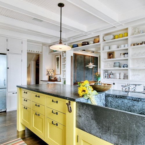Yellow Wood Kitchen Cabinets: Michael Homchick Stoneworks: COLORFUL Painted Kitchen Cabinets