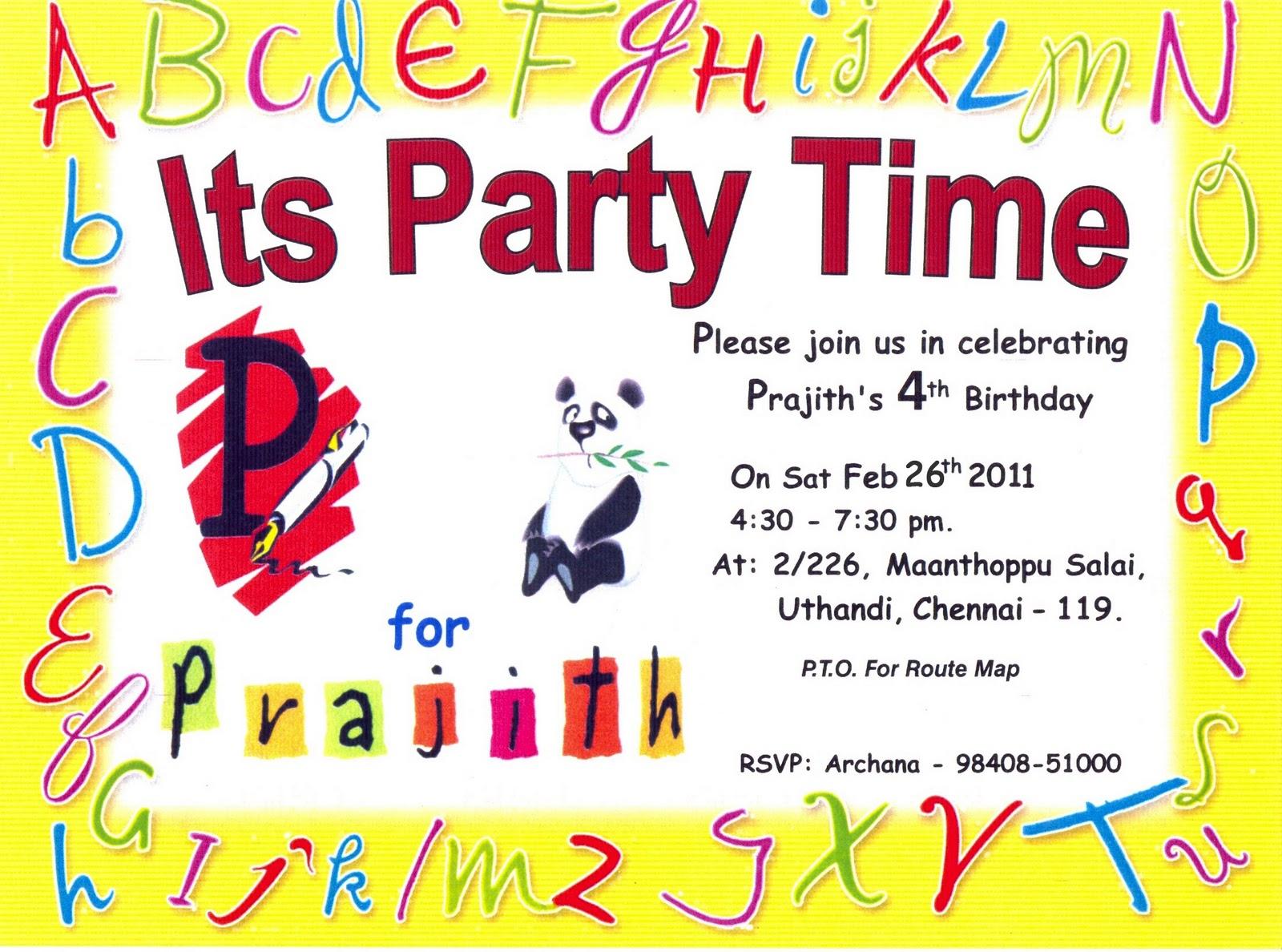 Krazy korner prajiths birthday invite prajiths birthday invite stopboris Gallery