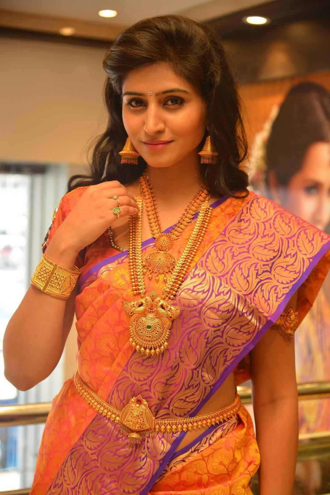 Actress Shamili Latest Cute Hot Orange Patuu Saree Navel Show Spicy Photos Gallery